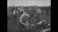 British military soldiers following daily routine at military base Stock Footage