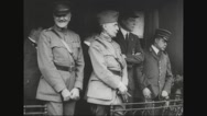 Ferdinand Foch standing with military soldiers Stock Footage