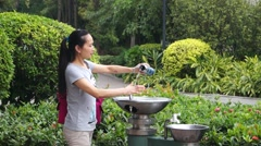 Outdoor drinking water is provided, in Shenzhen, China Stock Footage