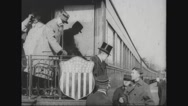 Ferdinand Foch and military officers getting down from train Stock Footage