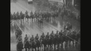 Military soldiers marching on street Stock Footage