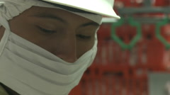 Close up of chicken factory worker - stock footage