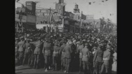 Military soldiers handling the crowd Stock Footage