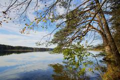 hdr capture of a lake in bavaria in autumn - stock photo