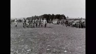 General John J. Pershing inspecting French troops in military base Stock Footage