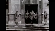 Military officers leaving government building Stock Footage