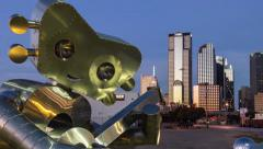 Dallas Skyline sunrise TimeLapse w/guitarMan statue zoom in at sunrise Stock Footage