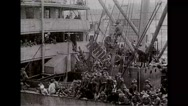 Military soldiers preparing to debark from the battleship Stock Footage