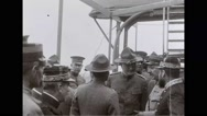 General John Joseph Pershing talking with military officers on battleship Stock Footage