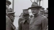 Military officers talking on battleship Stock Footage