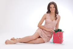 Beauty portrait of a young woman  happy dear gift - stock photo