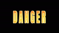 Word danger on fire. word is burned. A Luma Matte (Alpha Channel) is Included. Stock Footage
