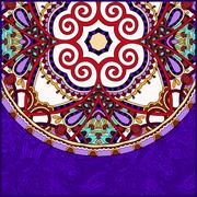 Violet colour ornamental floral template with circle ethnic dish Stock Illustration