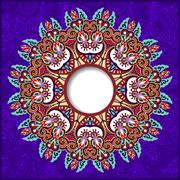 Stock Illustration of floral round pattern in violet colour ukrainian oriental ethnic
