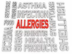 3d imagen allergies concept word cloud background Stock Illustration