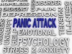 3d imagen panic attack  issues concept word cloud background Stock Illustration