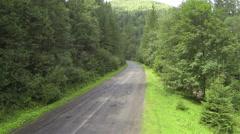 Up over wood in  mountain with road . Aerial  shot  Stock Footage
