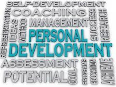 3d imagen personal development  issues and concepts word cloud background - stock illustration