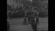Women and military soldiers marching in parade Stock Footage