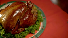 Panning Camera over Roasted Chicken Stock Footage
