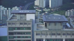 Helicopter Landing Pads On Top Of High Rise Buildings Busan HD Stock Footage