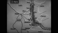 Animated map showing French army arriving at the banks of Meuse Stock Footage