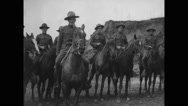 Military soldiers riding on horses Stock Footage
