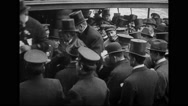Marshal Joseph Joffre walking up stairs with city officials on ship Stock Footage