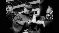 Marshal Joseph Joffre receives a model of the Statue of Liberty Stock Footage