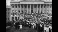 Crowd in front of United States Capitol Stock Footage