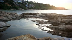 Beautiful rocky landscape sunset in the sea with stones on Koh Samui. Thailand. Stock Footage