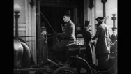 Officers getting out of horse cart Stock Footage
