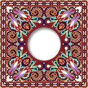floral round pattern in violet colour ukrainian oriental ethnic - stock illustration