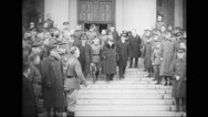 Georges Clemenceau leaving from army war college Stock Footage