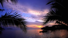 Buddha statue over scenic sunset sky background and sea on Koh Samui, Thailand. Stock Footage