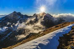 sunset over the fagaras mountains, southern carpathians - stock photo