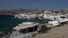 Mykonos Greece white homes cafes coastal ocean 4K 158 Stock Footage