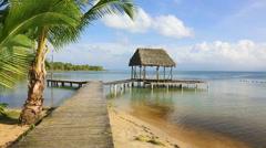 Pier on Boca del Drago beach, Panama Stock Footage