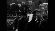 Military soldiers walking with horse on the pontoon bridge Stock Footage