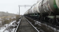 Train drag tanks with oil Stock Footage