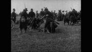 Military soldiers with cart on battlefield Stock Footage