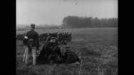 Military soldiers running on battlefield Stock Footage