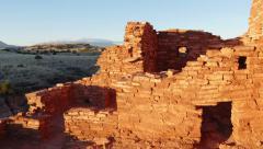 Humphrey's Peak and Lomaki Pueblo Ruins Stock Footage