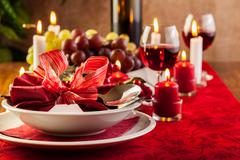 Christmas dishware on the wooden table Stock Photos