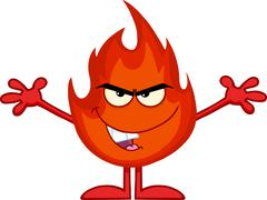 Evil Fire Cartoon Character With Open Arms Stock Illustration