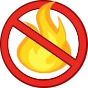 Stop Fire Sign With Burning Flame Stock Illustration