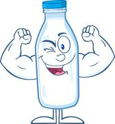 Winking Milk Bottle Cartoon Character Showing Muscle Arms Stock Illustration