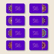 Stock Illustration of collection of ornamental floral violet colour business cards