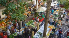 Old fruit market in Funchal, Madeira Stock Footage