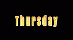 Word thursday on fire. word is burned. A Luma Matte (Alpha Channel) is Included. Stock Footage